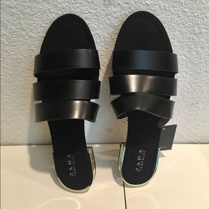 243125ed6f2d Zara Shoes - Zara black flat slide sandals with metal heel
